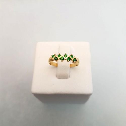 Argolla en oro de 18k con circones verdes ref A-752
