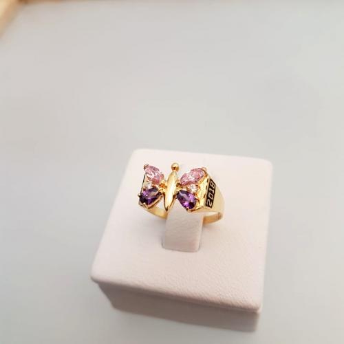 A940 Anillo de grado en oro amarillo 18 kilates mariposa piedras amatista y rosa de francia