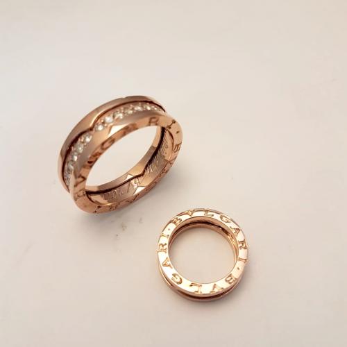 Argollas modelo bulgari oro rojo y diamantes