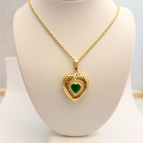 Cadena Lazo con dije corazon esmeralda y diamante